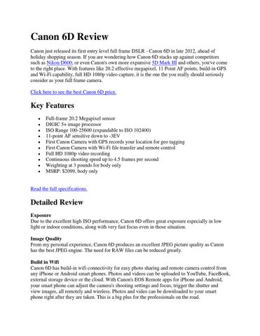 Canon 6D Review by Edwards Fire - issuu