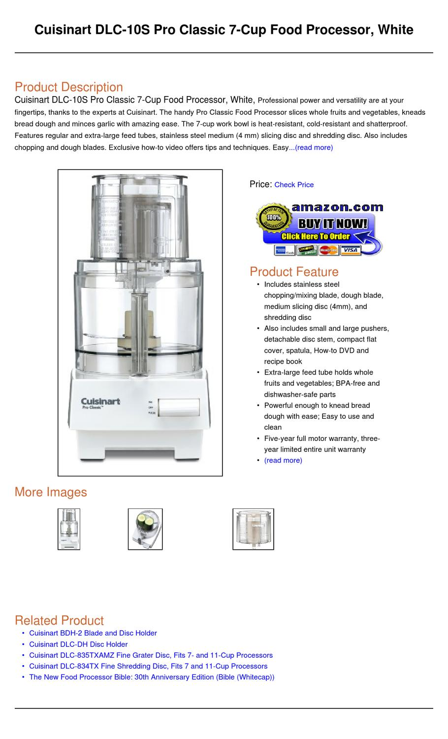 Cuisinart Dlc S Pro Classic  Cup Food Processor Work Bowl Cover