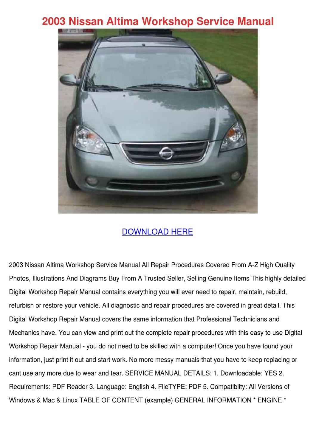 2003 Nissan Altima Workshop Service Manual By Dionna Canterbury Issuu 1996 Wiring Diagram Related Keywords Suggestions