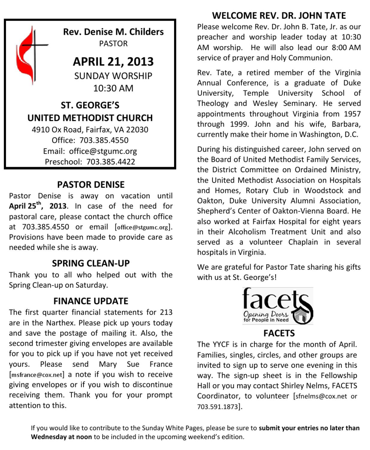 St George's Announcements April 21, 2013 by Kevin Phillips