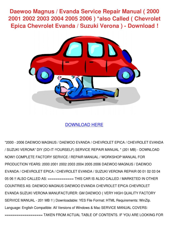 Daewoo Magnus Evanda Service Repair Manual 20 By Temika Jawad Issuu Suzuki Door Schematic