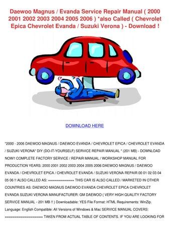 daewoo magnus evanda service repair manual 20 by temika jawad issuu