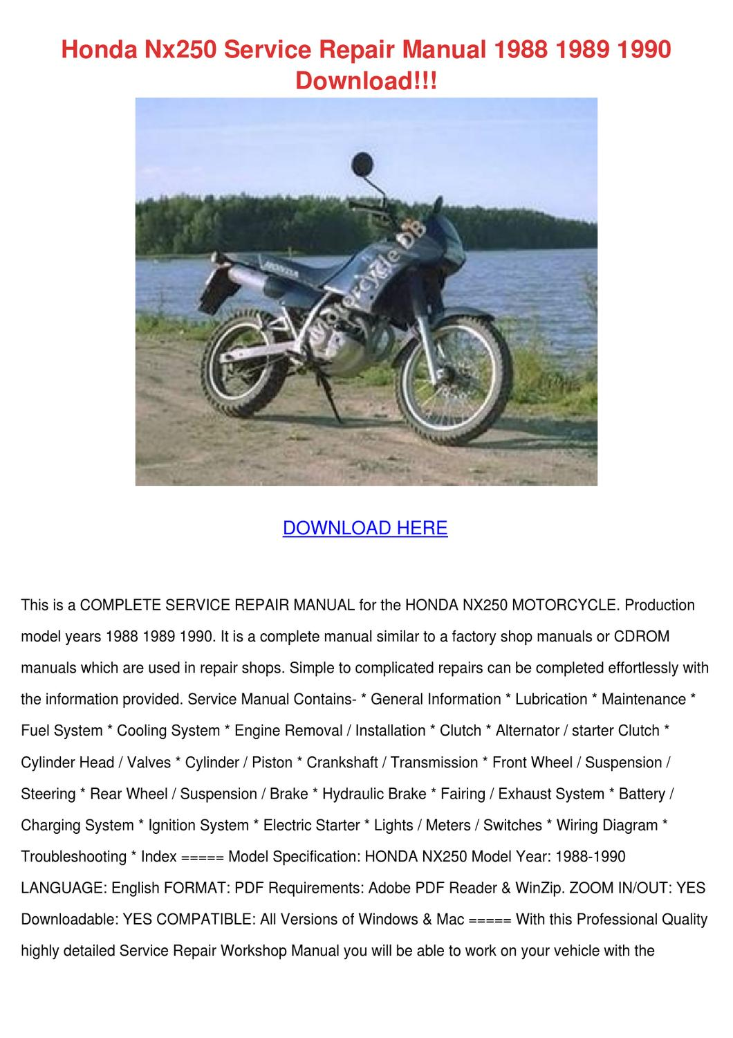 Honda Nx250 Service Repair Manual 1988 1989 1 By Temika Jawad Issuu Xl500r Wiring Diagram