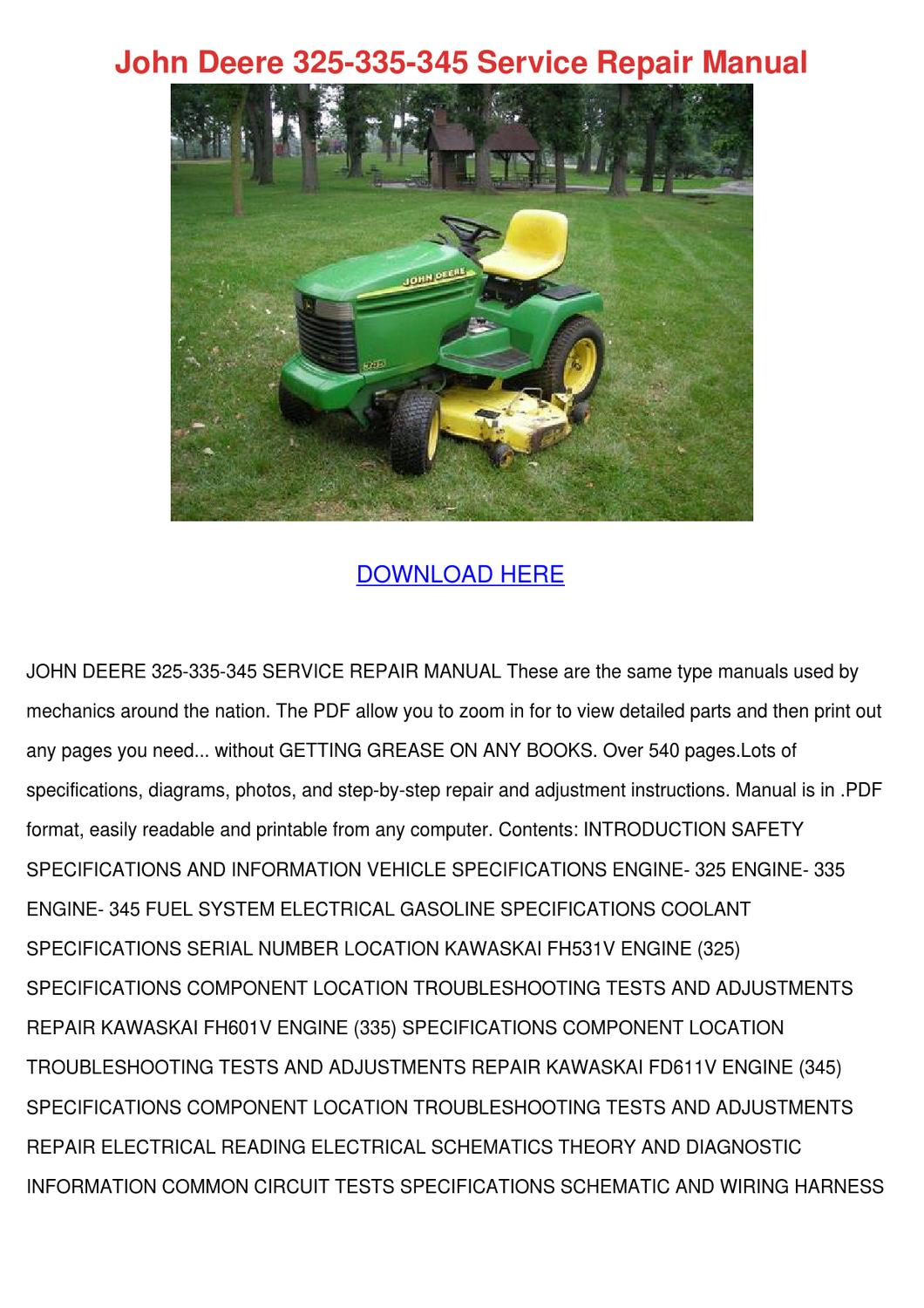 john deere 325 335 345 service repair manual by kari mabey issuu