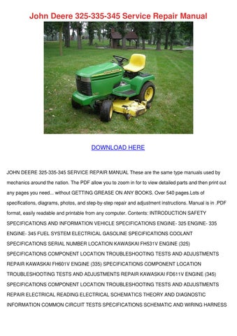 john deere 325 335 345 service repair manual by kari mabey issuu rh issuu com John Deere Wiring Diagrams John Deere Parts