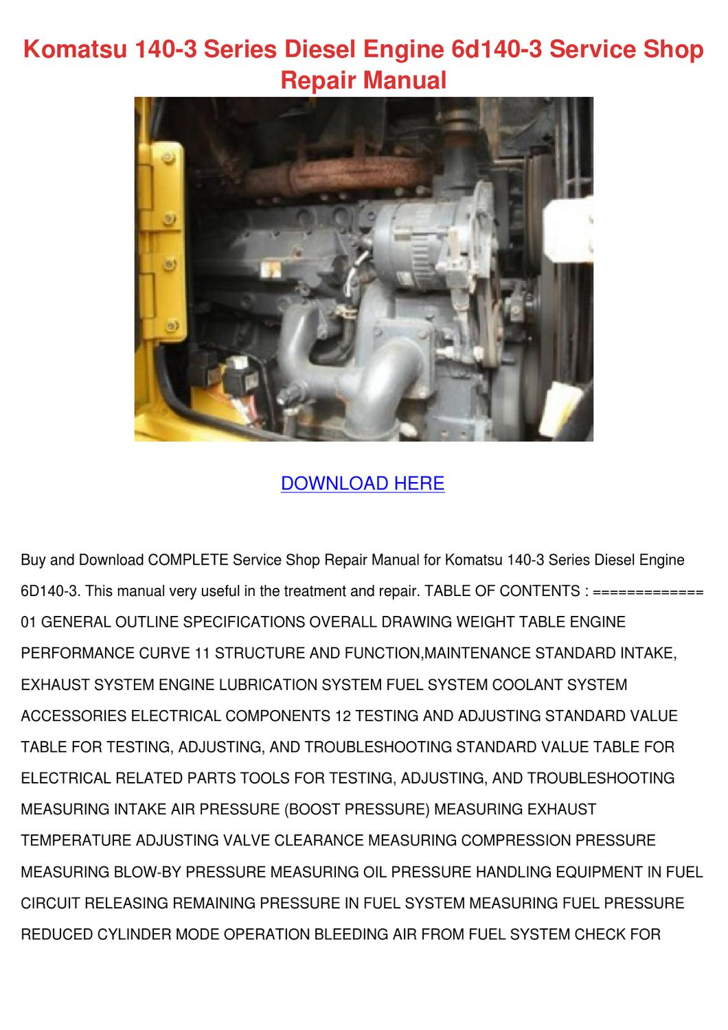 Komatsu 140 3 Series Diesel Engine 6d140 3 Se by Kari Mabey - issuu