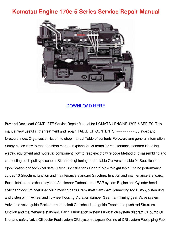 Komatsu Engine 170e 5 Series Service Repair M By Kari Mabey Issuu Wa250 Wiring Diagram