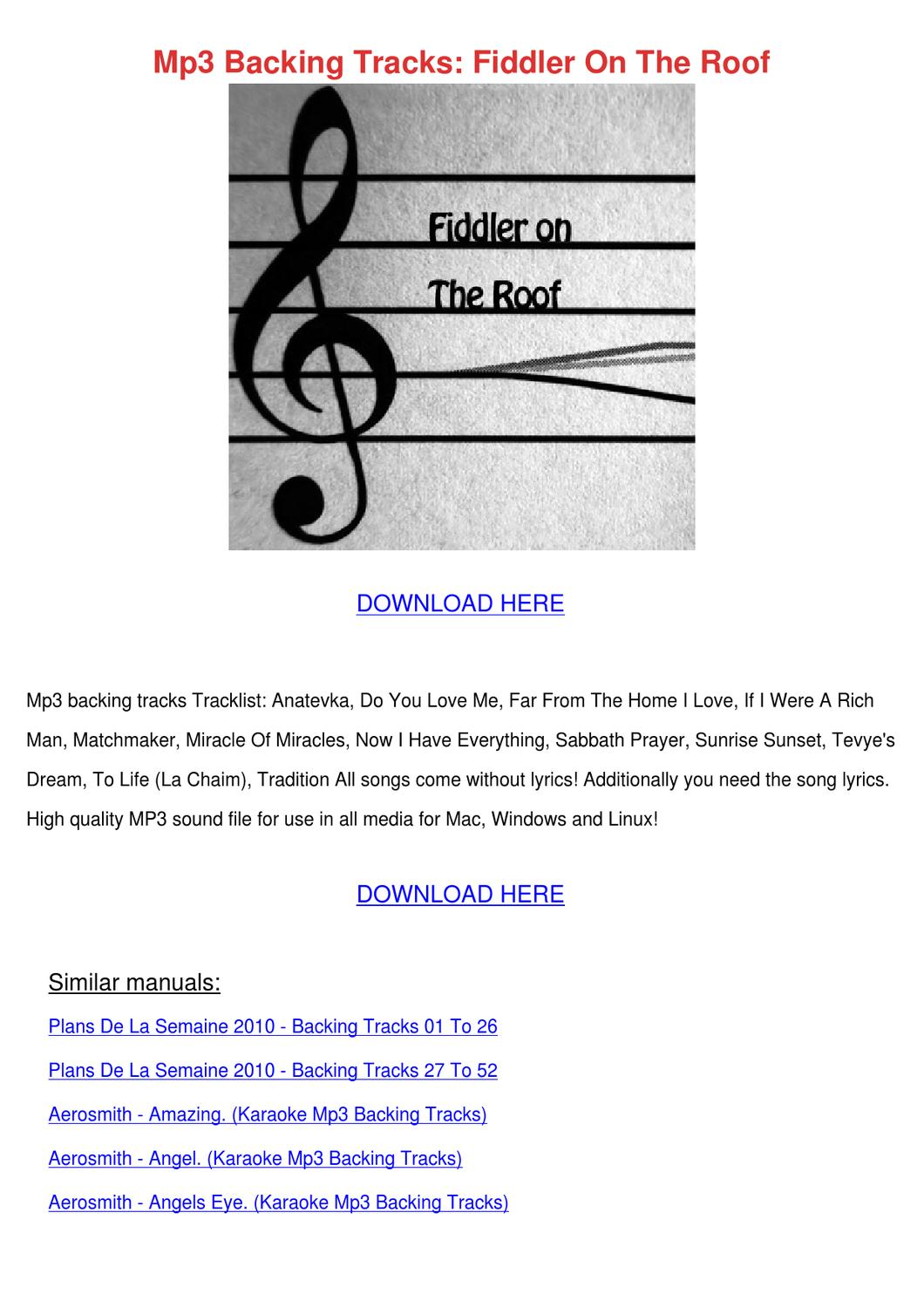 Mp3 Backing Tracks Fiddler On The Roof By Kari Mabey Issuu