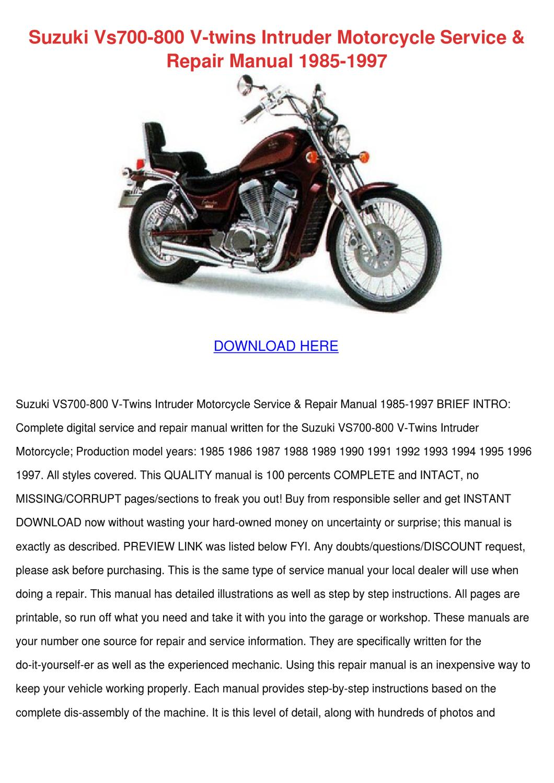 Suzuki Vs700 800 V Twins Intruder Motorcycle by Wilma Canlas - issuu