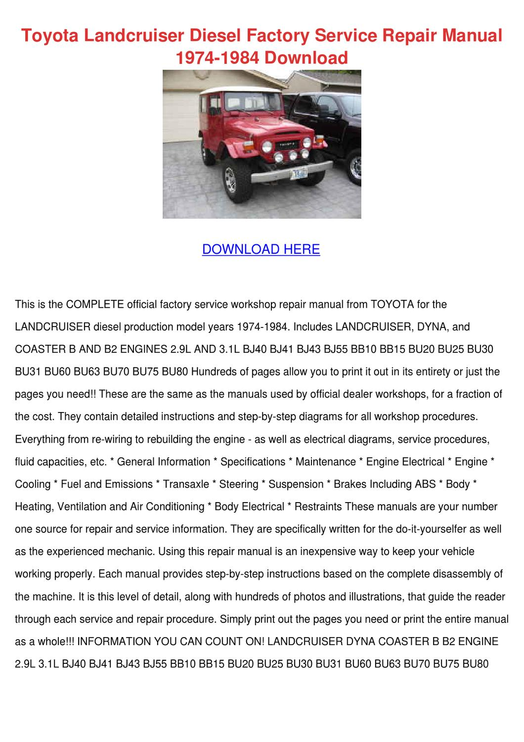 Toyota Landcruiser Diesel Factory Service Rep by Wilma Canlas - issuu
