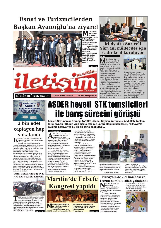 27 Nisan 2013 Cumartesi Gazete Sayfalari By Mardin Iletisim