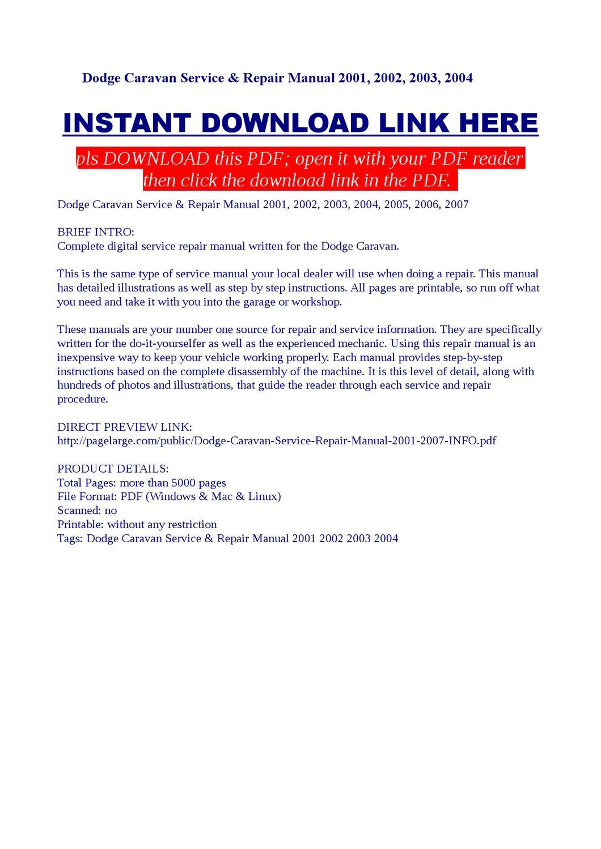 Dodge Caravan Service & Repair Manual 2001, 2002, 2003, 2004 by Kas Bilag -  issuu