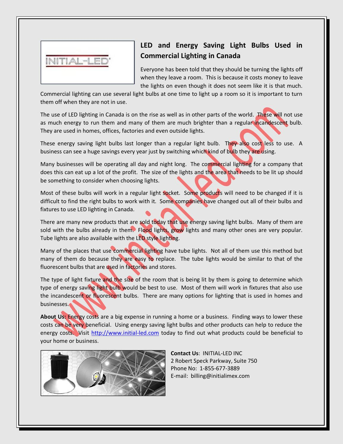 LED And Energy Saving Light Bulbs Used In Commercial Lighting In Canada By  Initial Led   Issuu