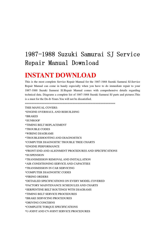 1987-1988 Suzuki Samurai SJ Service Repair Manual Download by chen wei -  issuu