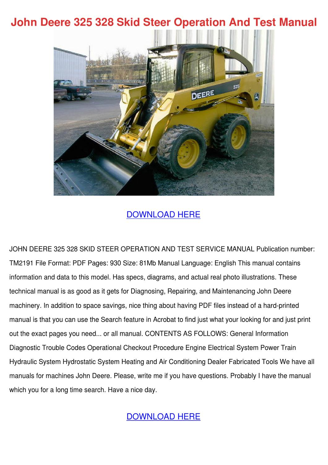 John Deere 325 328 Skid Steer Operation And T by Jung