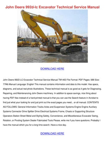 john deere 992d lc excavator technical servic by jung gilcreast issuu rh issuu com John Deere Lawn Tractors John Deere Online Service Manual