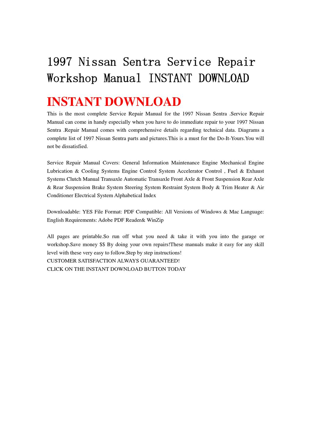 1997 Nissan Sentra Service Repair Workshop Manual INSTANT DOWNLOAD by chen  wei - issuu