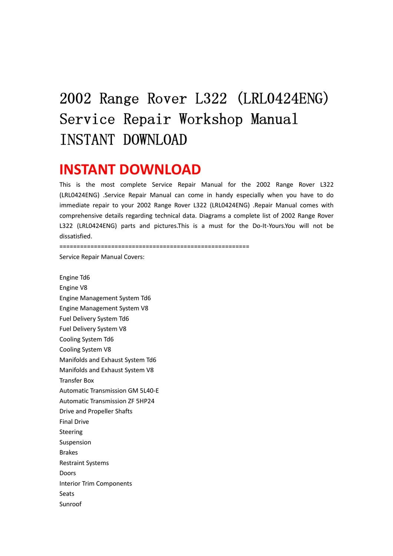 Gm 5l40 Manual Ebook Diagram Of Pre1997 Bf50a Lra Honda Outboard Engine Lower Case Array 2002 Range Rover L322 Lrl0424eng Service Repair Workshop Rh