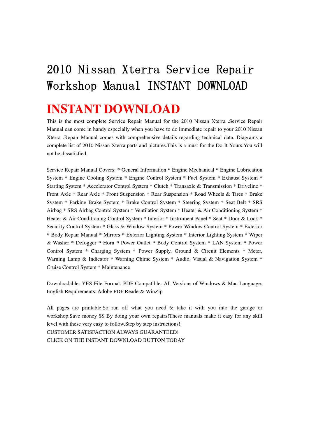 2010 Nissan Xterra Service Repair Workshop Manual INSTANT DOWNLOAD by chen  wei - issuu