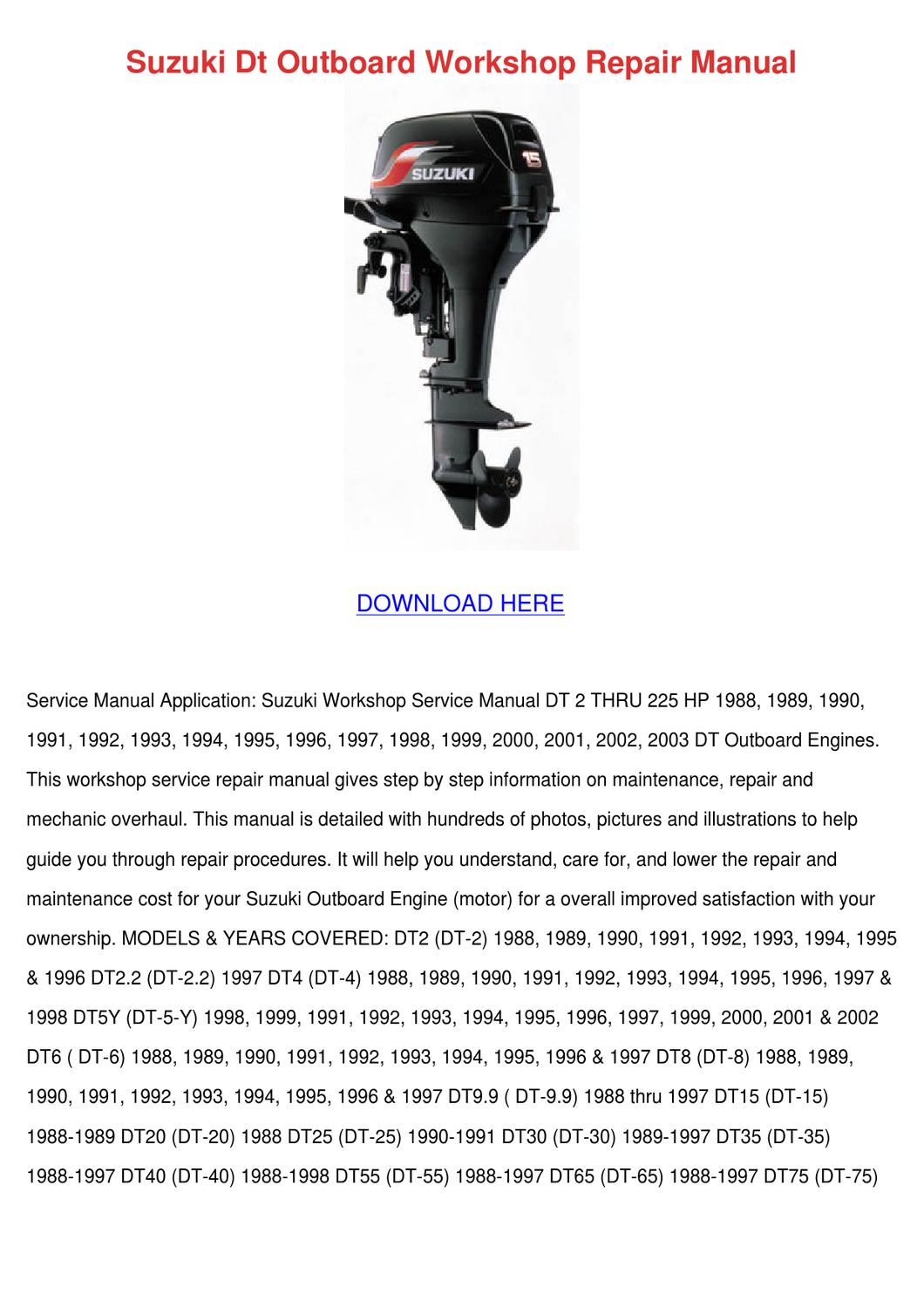 Suzuki Dt Outboard Workshop Repair Manual By Cecil Goral Issuu King Quad 750 Fuel Filter