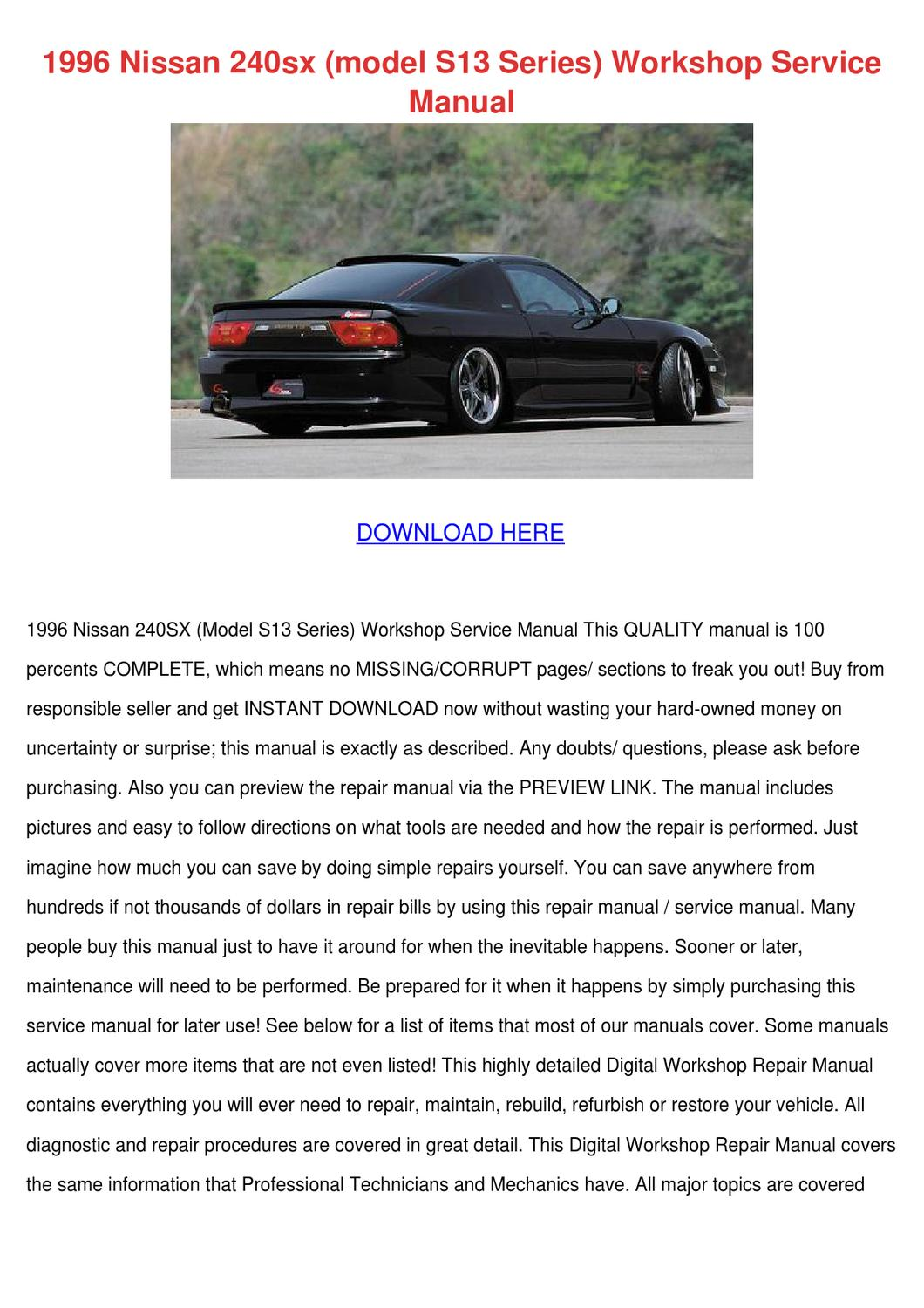 1996 Nissan 240sx Model S13 Series Workshop S By Sonia Mahoney Issuu Altima Wiring Diagram Related Keywords Suggestions