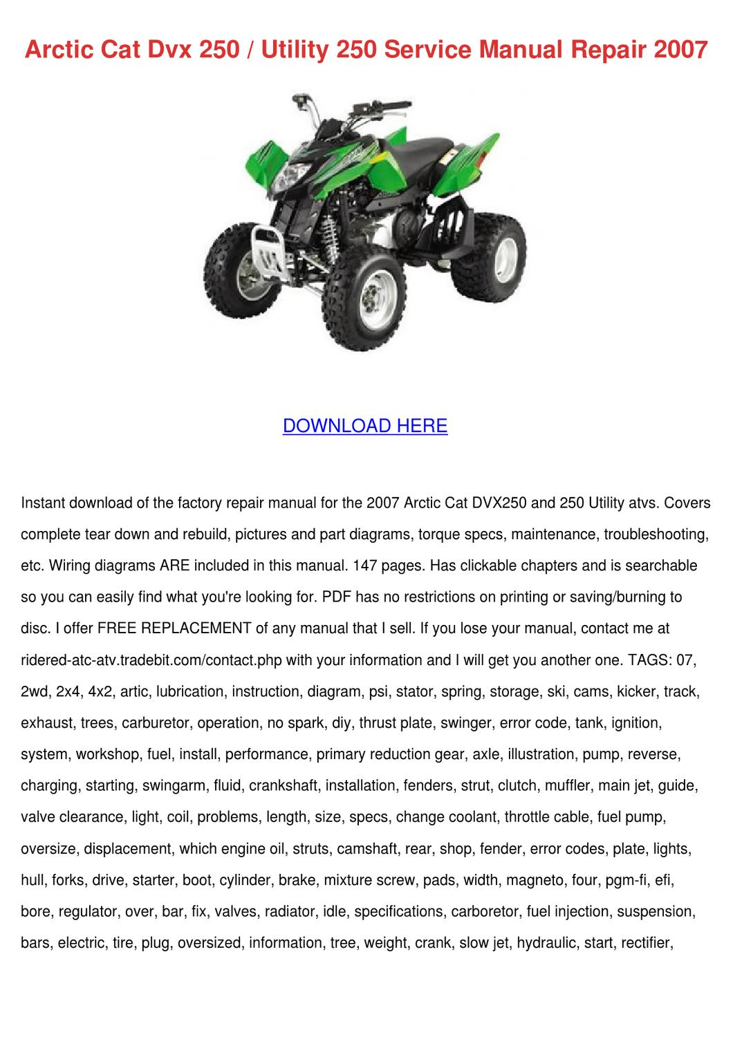 Arctic Cat Dvx 250 Utility 250 Service Manual By Sonia