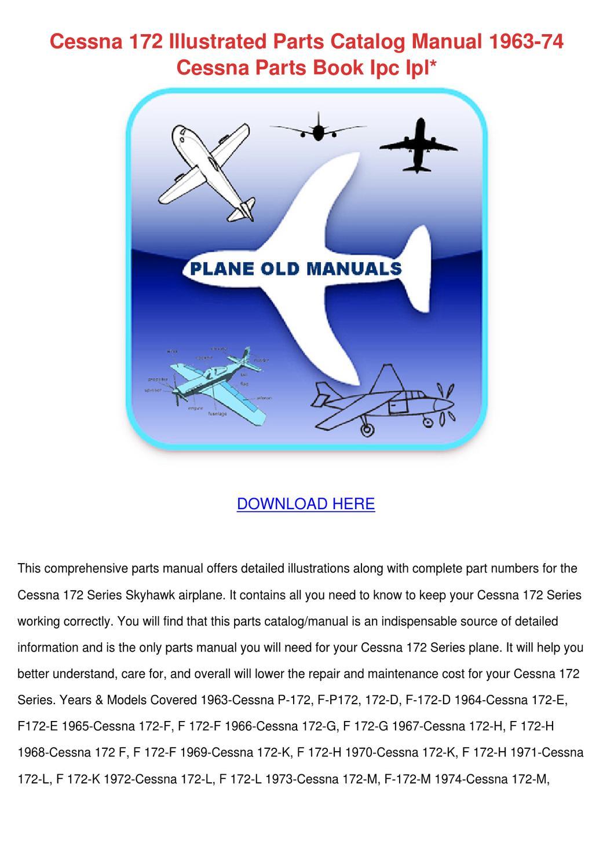 Cessna 172 Illustrated Parts Catalog Manual 1 By Sonia Mahoney Issuu