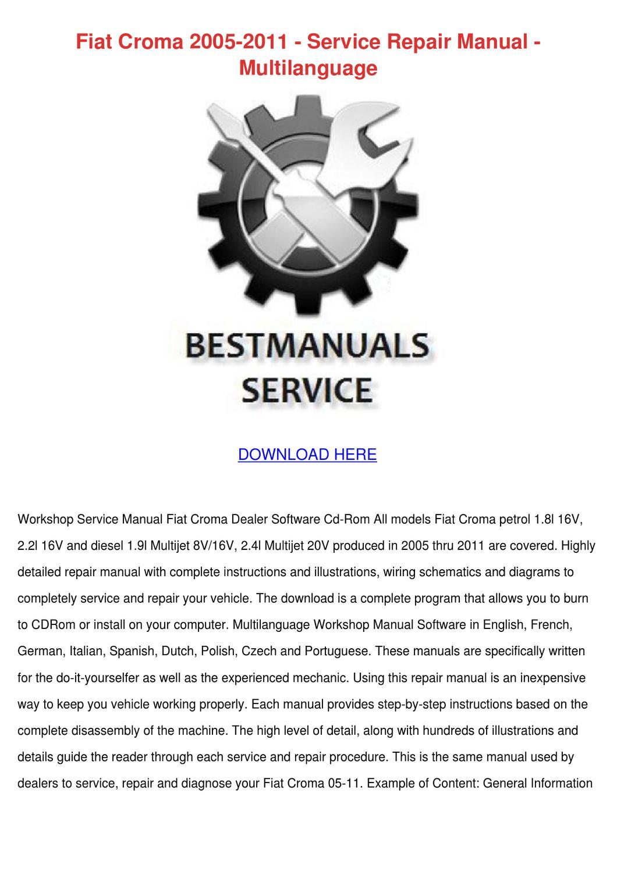 Fiat Croma 2005 2011 Service Repair Manual Mu By Shiela