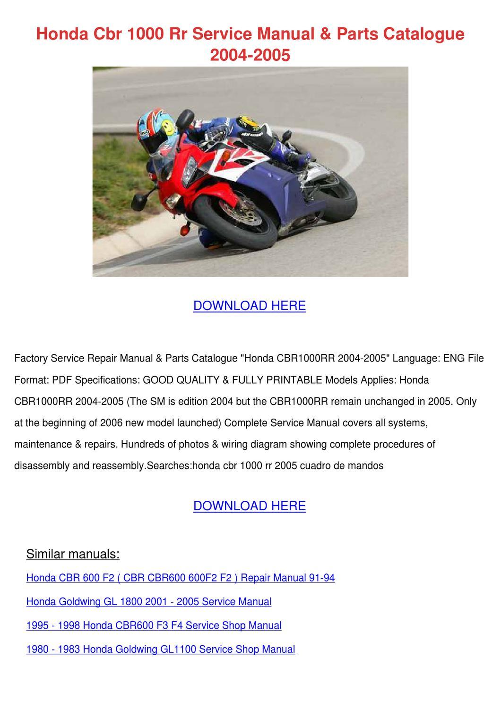 Honda CBR 600 F2 Service Repair Manual PDF All Years