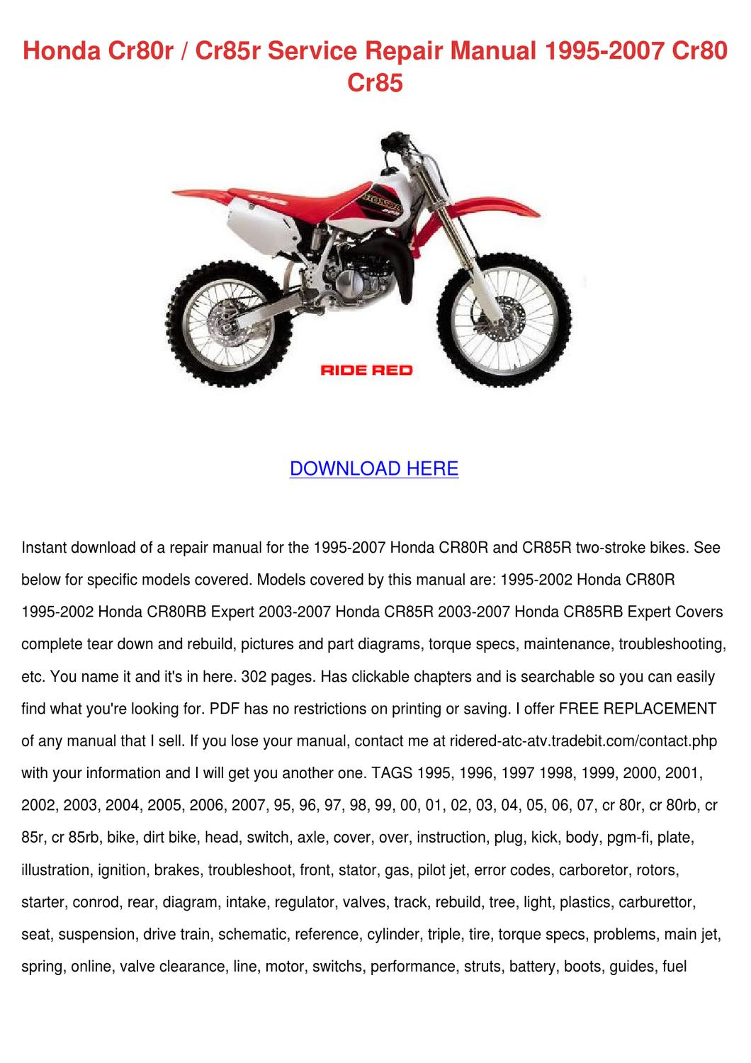 Honda Cr80 Engine Diagram - Catalogue of Schemas on