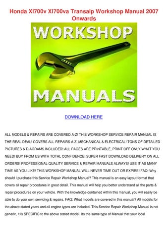 Honda xl700v xl700va transalp workshop manual by shiela mogren issuu honda xl700v xl700va transalp workshop manual 2007 onwards fandeluxe Image collections