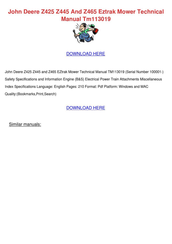 John Deere manual z445