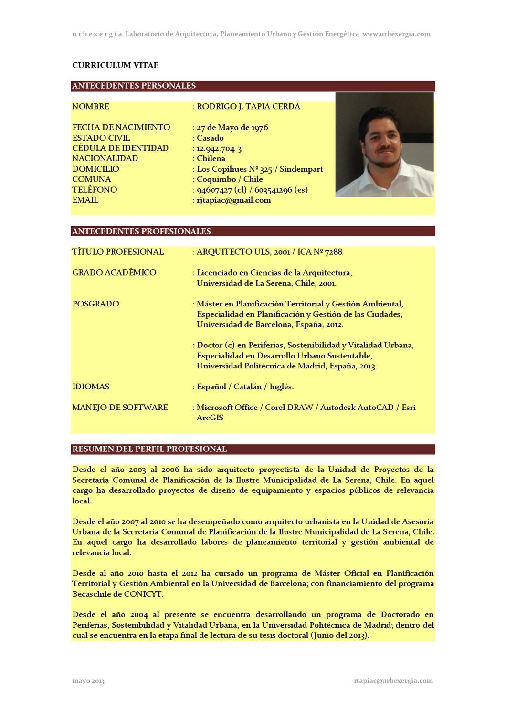 Curriculum Rodrigo Tapia by Rodrigoydani Livinginbcn - issuu