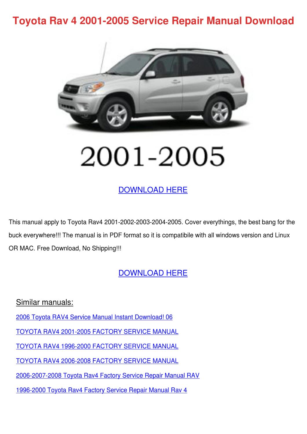 Toyota Rav 4 2001 2005 Service Repair Manual By Lillia Nagata Issuu