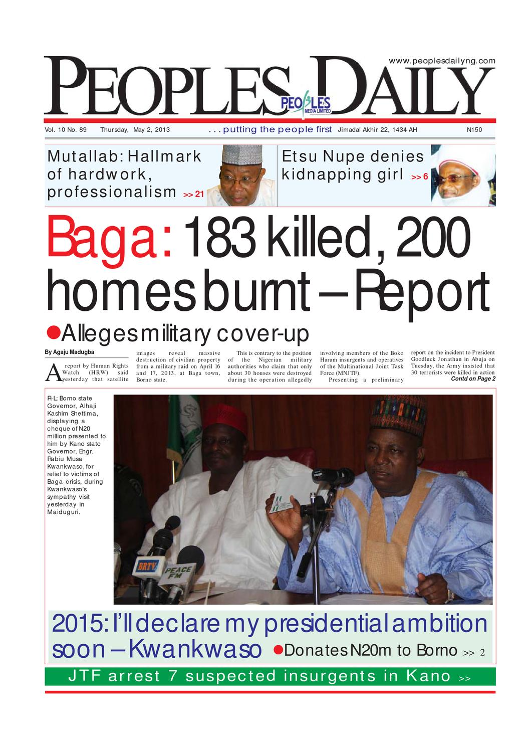 Peoples Daily Newspaper, Thursday 02, May, 2013 by Peoples