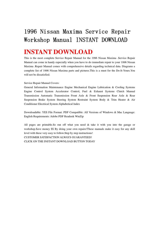 1996 Nissan Maxima Service Repair Workshop Manual INSTANT ...