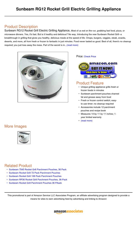 alpha-ene.co.jp Sunbeam RG12 Rocket Grill Electric Grilling ...