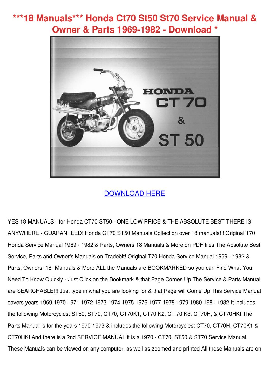 18 Manuals Honda Ct70 St50 St70 Service Manua by Johnette Pamphile ...