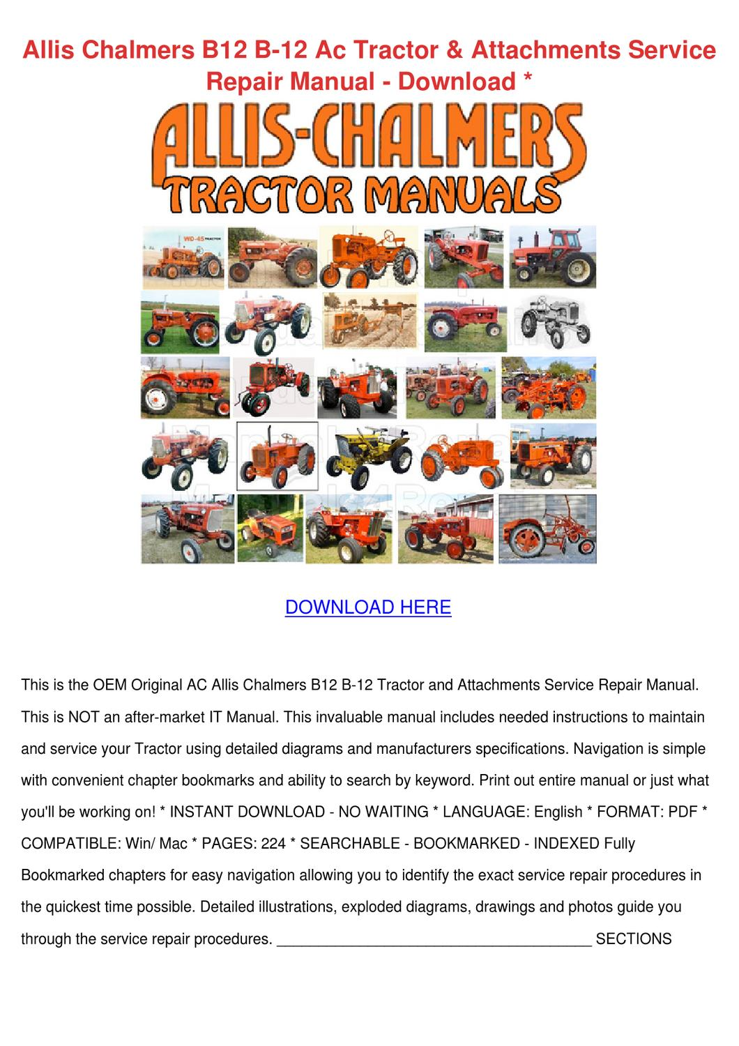 Wiring Diagram Allis Chalmers B12 Electrical Diagrams 200 B 12 Ac Tractor Attachment By Johnette Pamphile Engine