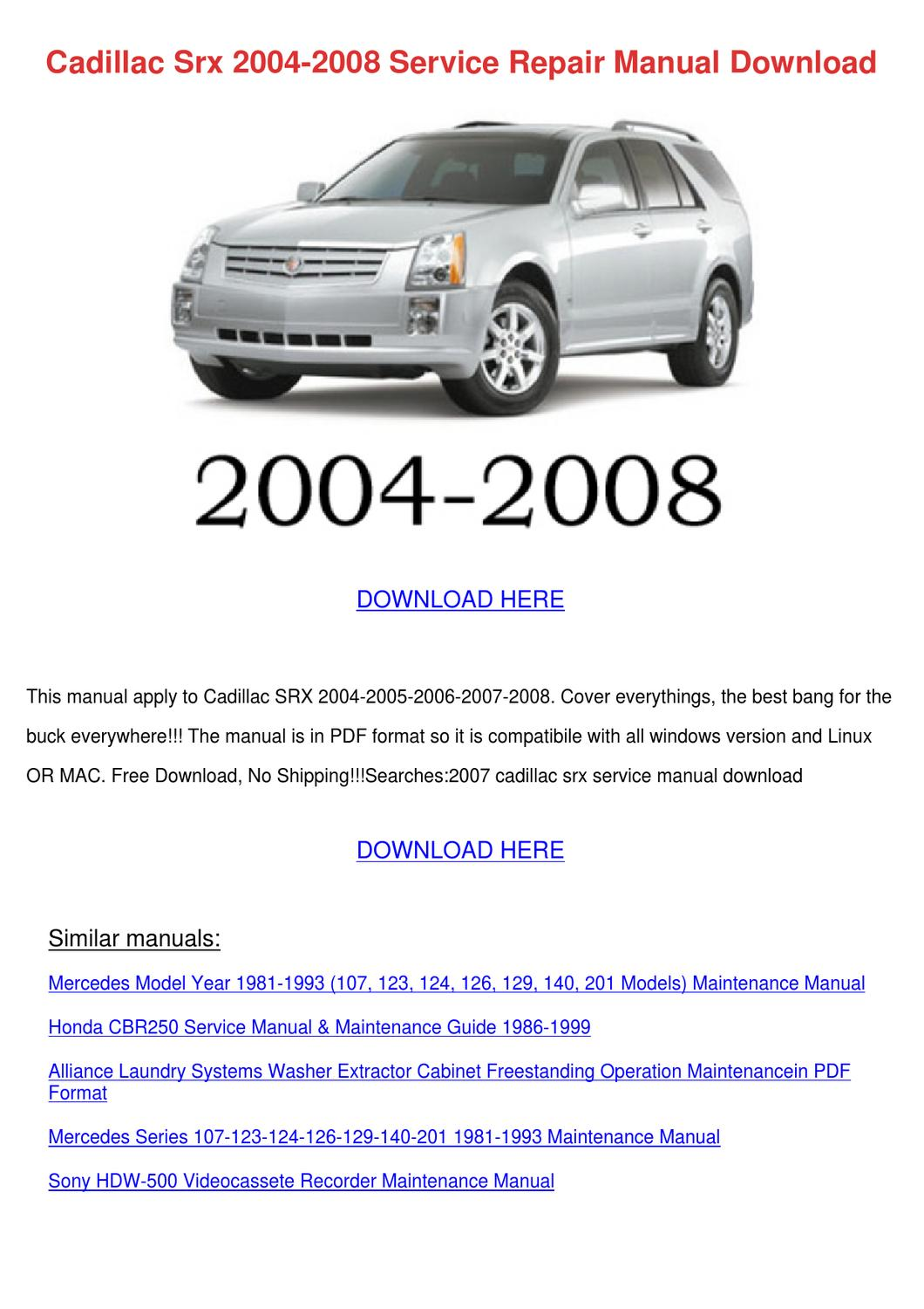 Cadillac Srx 2004 2008 Service Repair Manual by Johnette Pamphile - issuu