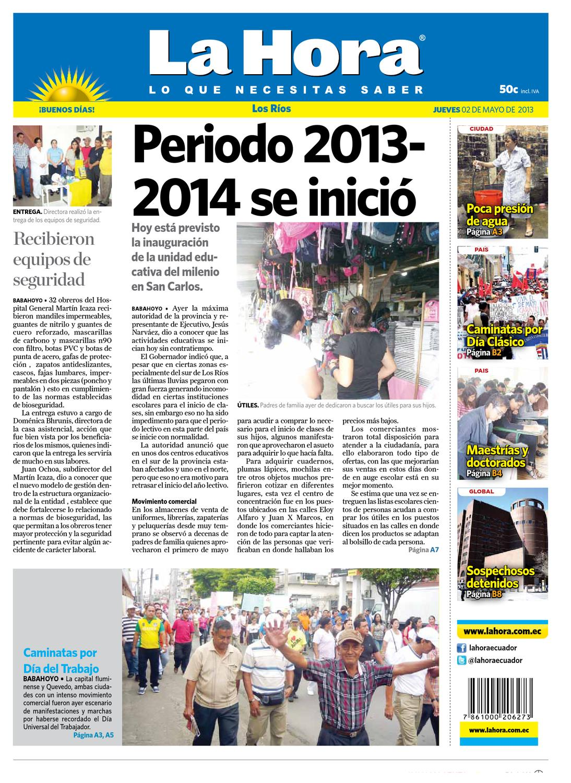 Edición impresa Los Ríos del 2 de mayo de 2013 by Diario La Hora ...