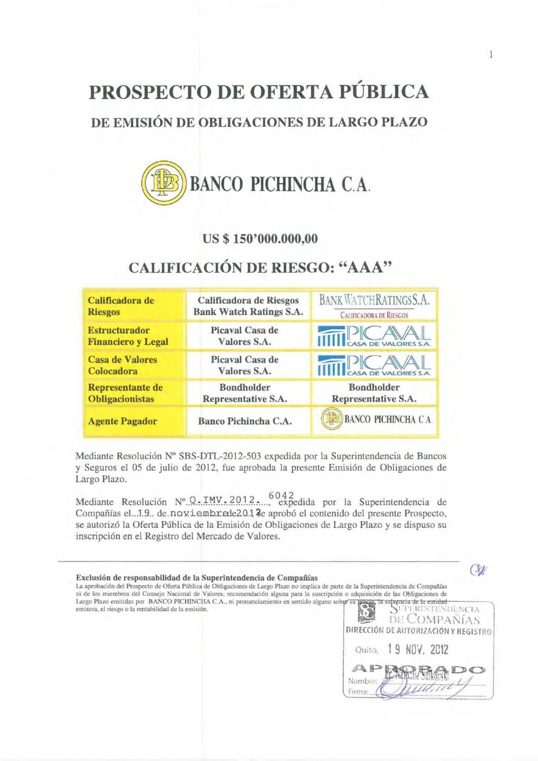 Prospecto obl bco pichincha by bolsa de valores de quito for Solicitud de chequera