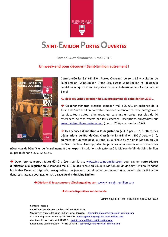 Saint emilion portes ouvertes by club de la presse de - Communique de presse portes ouvertes ...
