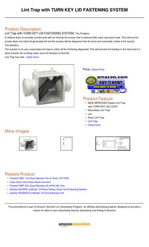 Lint Trap With Turn Key Lid Fastening System By Sids