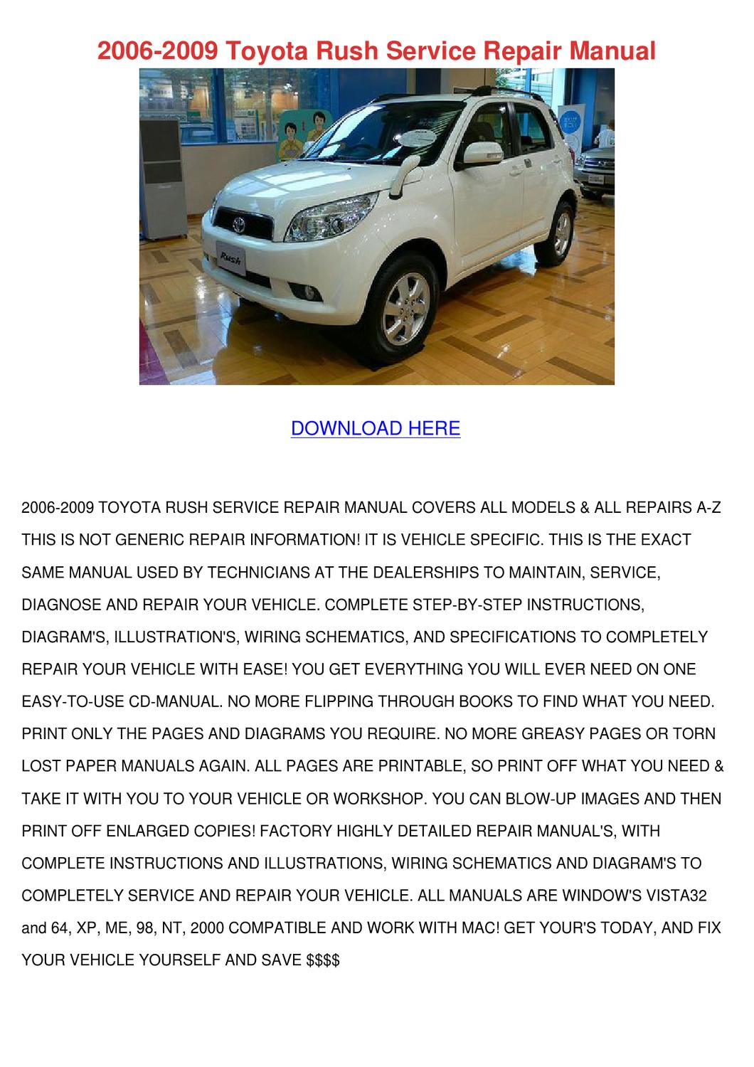 2006 2009 toyota rush service repair manual by wan hoovler issuu rh issuu com Toyota Parts Toyota Wiring Diagrams