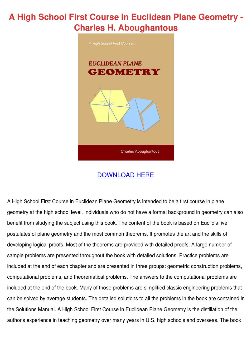 A High School First Course In Euclidean Plane by Wan Hoovler - issuu