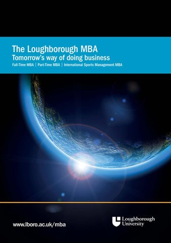 Loughborough Mba Brochure By Loughborough University Issuu