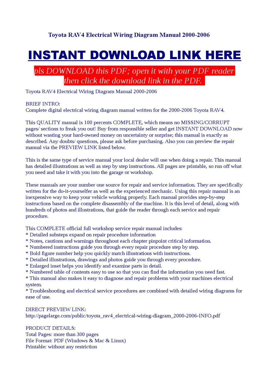 Toyota RAV4 Electrical Wiring Diagram Manual 2000-2006 by ...