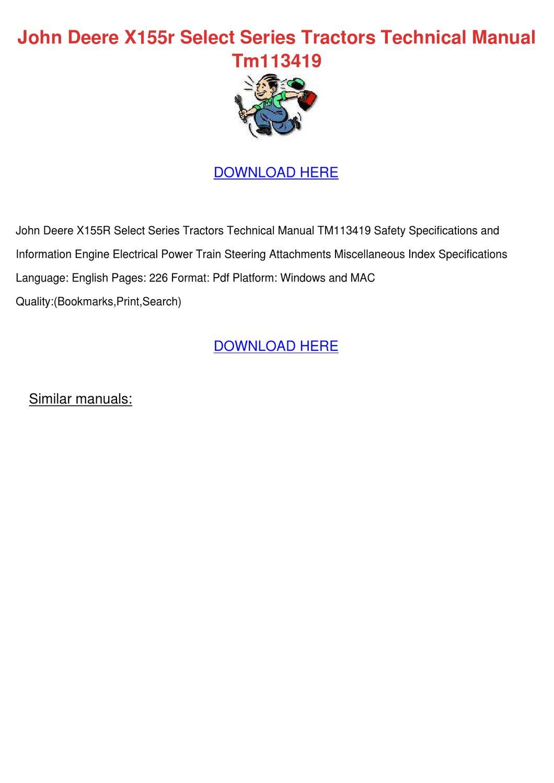 John Deere X155r Select Series Tractors Techn by Heike Kinkade - issuu