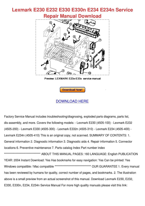 Lexmark E230 E232 E330 E330n E234 E234n Servi by Heike Kinkade - issuu